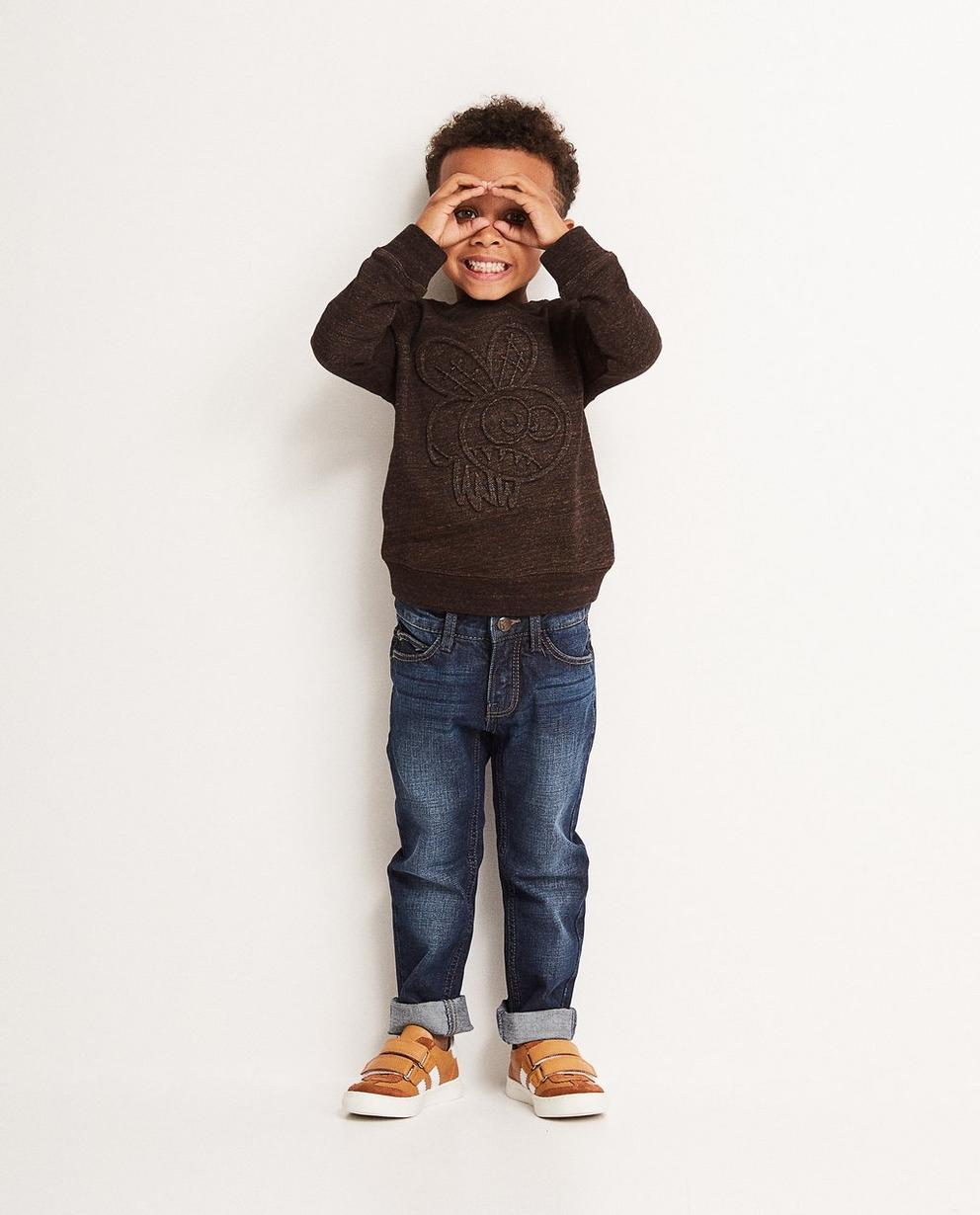 Sweatshirt mit Reliefprint - in meliertem Dunkelbraun - JBC